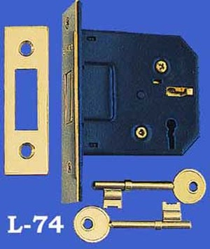 "Recreated Unusual Mortise Deadbolt Lock with Keyhole, 2 3/8"" Backset (L-74)"