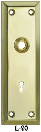 "Victorian Style Brass Large Plain Keyhole Door Plate 10"" Tall 2 1/4"" cc (L-90)"