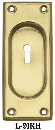 Traditional Classic Plain Brass Pocket Door Handle With Keyhole (L-91KH)