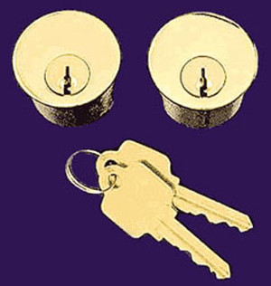 "Set of Two Matching 1 1/4"" Lock Cylinders with Keys for Doors (L-9C8)"