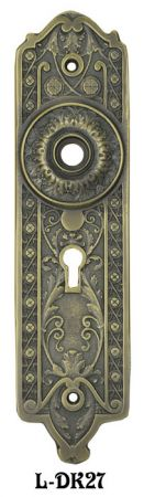 "Victorian Gothic Style Brass Door Plate 2 1/4""cc (L-27)"