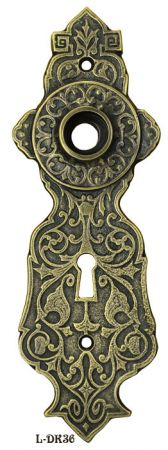 "Eastlake Style Door Plate With Keyhole 7 3/4"" Tall 2 1/4""cc (L-36)"