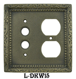 Victorian-Decorative-Plug-and-Push-Button-Combination-Outlet-and-Switch-Plate-Cover-(L-W15)
