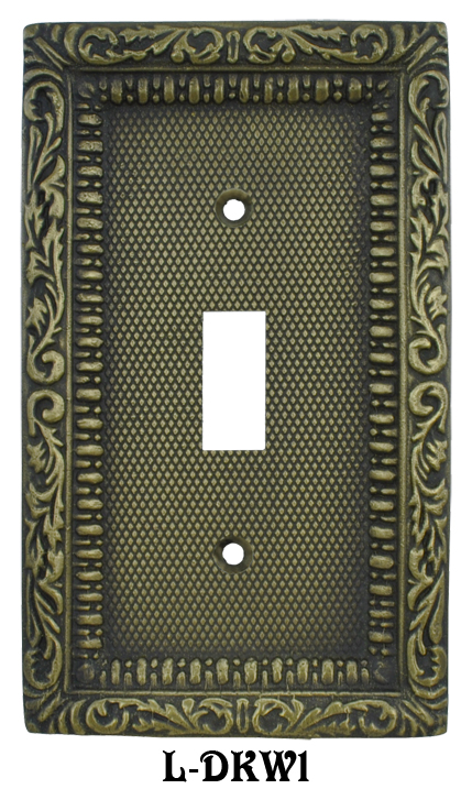 Victorian Decorative Brass Single Switch Plate Cover L W1