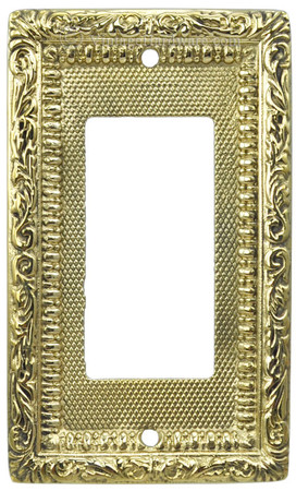 Victorian Decorative Brass Modern GFI or Rocker Switch Plate Cover (L-W13)