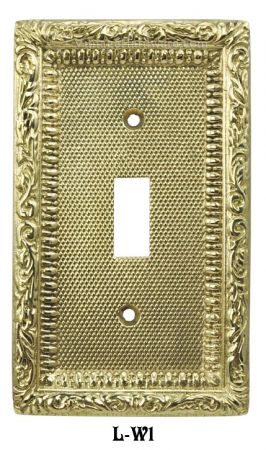 Victorian Decorative Brass Single Switch Plate Cover (L-W1)