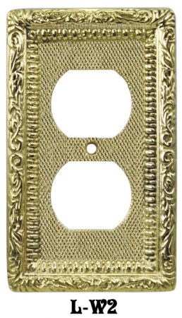 Victorian Decorative Brass Two Plug Outlet Cover Plate (L-W2)