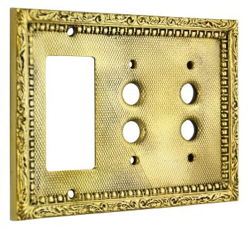 Victorian Triple Gang Decorative GFI & Pushbutton Switch Plate Cover (L-W25)