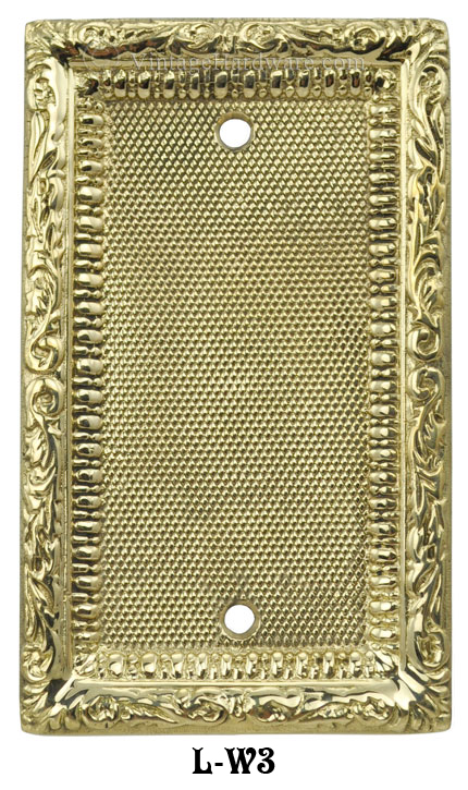 Victorian Decorative Brass Blank Single Switch Plate Cover