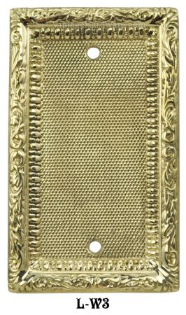 Victorian Decorative Brass Blank Single Switch Plate Cover (L-W3)