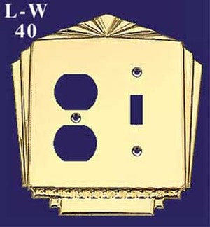 Art Deco Recreated Plug & Light Switch Combo Switch Plate Cover (L-W40)