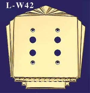 Art Deco Style Double Push Button Switch Plate Cover (L-W42)