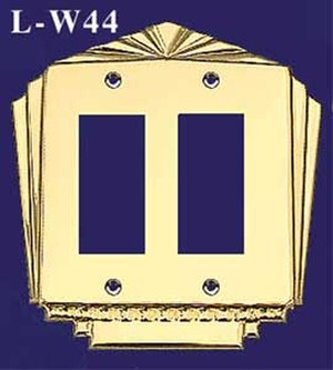 Art Deco Style Double GFI Switch Plate Cover (L-W44)