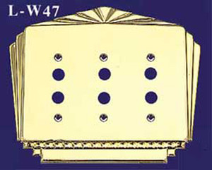 Art Deco Style Triple Gang Push Button Switch Plate Cover (L-W47)