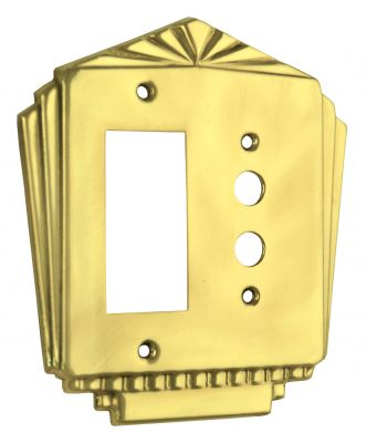 Art Deco GFI or Modern Rocker & Push Button Double Gang Switch Plate Cover (L-W49)