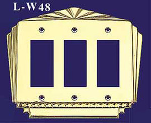 Art Deco Triple GFI Switch Plate Cover (L-W48)