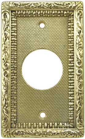 "Victorian Recreated Brass Round Plug Cover Plate 3 5/16"" C.C. (L-W4A)"