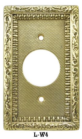 Victorian Decorative Brass Round Plug Cover Plate (L-W4)