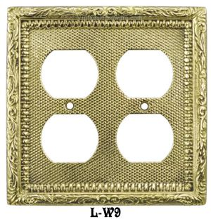 Victorian Decorative Double Gang Duplex Plug Cover Plate (L-W9)