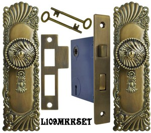 Victorian Corbin Roanoke Door Plate Set with Locking Keyed Mortise (L109MKKSET)