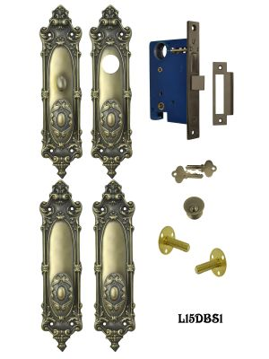 Victorian Double Door Entry Set Rococo Yale Pattern (L15DBS1)