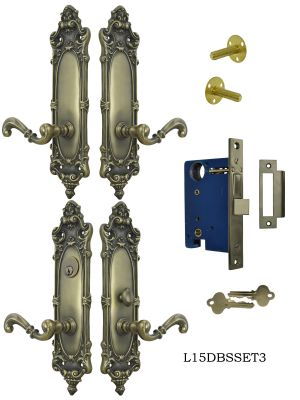 Victorian Double Door Entry Set Rococo Yale Pattern (L15DBS3)