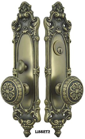 Victorian-Rococo-Yale-Pattern-with-Gothic-Knob-Entry-Door-Set-(L15SET2)