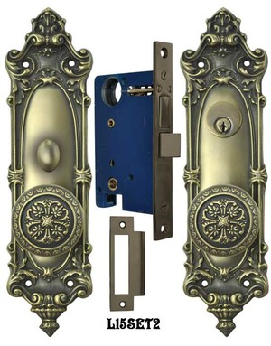 Victorian Rococo Yale Pattern with Gothic Knob Entry Door Set (L15SET2)