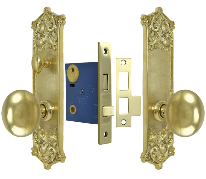 Vintage Hardware Lighting Victorian Scroll Pattern Door Plate Privacy Set With Locking