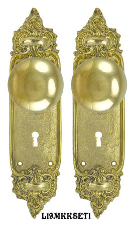 French-Louis-Style-Door-Plate-Set-with-Locking-Keyed-Mortise-(L19MKKSET1)