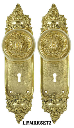 French-Louis-Style-Door-Plate-Set-with-Scroll-Design_Doorknobs-and-Locking-Keyed-Mortise-(L19MKKSET2)