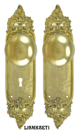 French-Louis-Style-Door-Plate-Set-with-Locking-Keyed-Mortise-(L19MKSET1)