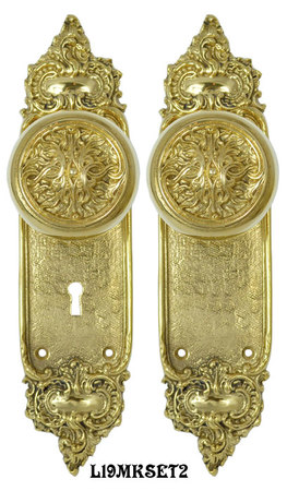 Louis-Style-Door-Plate-Set-with-Fancy-Scroll-Design-Doorknobs-and-Locking-Keyed-Mortise-(L19MKSET2)