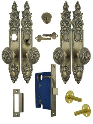 Victorian Double Door Entry Set Gothic Antique Reproduction with Large Lion Door Knobs (L26DBS)