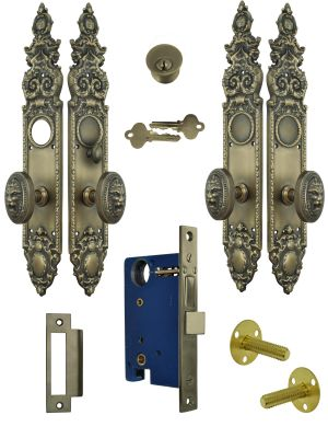 Victorian Heraldic Double Door Entry Set with Pavia Lion Knob (L26DBS2)