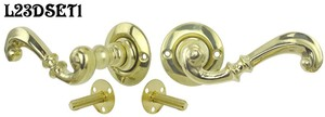 Contemporary-Solid-Brass-Plain-Door-Plate-Dummy-Set-with-Lever-Handles-(L23DSET1)