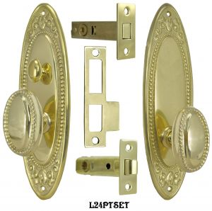 Victorian Acanthus Beaded Edge Door Plate Tubular Passage Set with Locking Turnlatch (L24PTSET)
