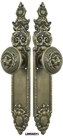 Victorian-Heraldic-Door-Plate-with-Large-Lion-Knob-Dummy-Set-(L26DSET1)