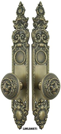 Victorian-Heraldic-Door-Plate-with-Large-Lion-Knob-Dummy-Set-(L26LDSET1)