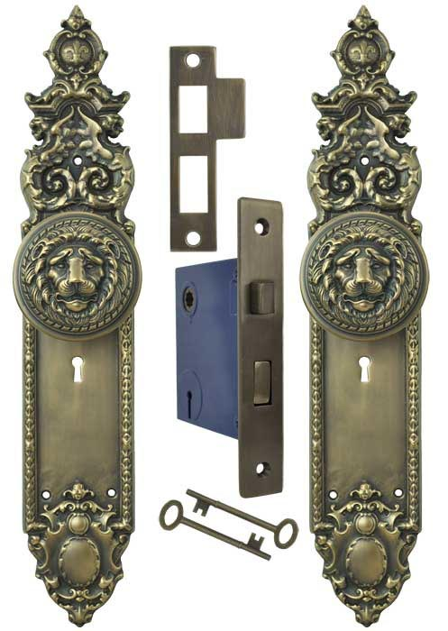 Victorian Gothic Heraldic Door Plates With Large Lion Door