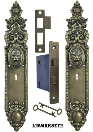 Victorian Heraldic Door Plate and Pavia Lion Knob Set with Locking Keyed Mortise (L26MKKSET2)