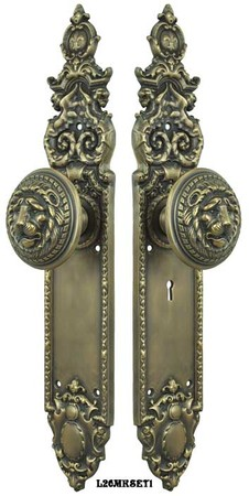 Victorian-Heraldic-Door-Plate-and-Large-Lion-Knob-Set-with-Locking-Keyed-Mortise-(L26MKSET1)