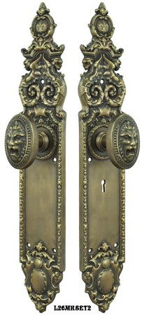 Victorian-Heraldic-Door-Plate-and-Pavia-Roaring-Lion-Knob-Set-with-Locking-Keyed-Mortise-(L26MKSET2)