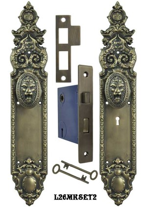 Victorian Heraldic Door Plate and Pavia Roaring Lion Knob Set with Locking Keyed Mortise (L26MKSET2)
