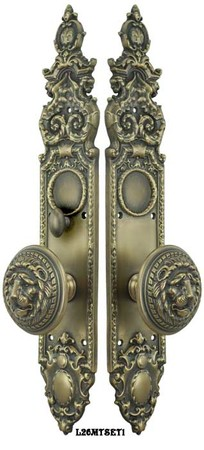Victorian-Heraldic-Door-Plate-and-Large-Lion-Knob-Set-with-Turnlatch-Mortise-(L26MTSET1)