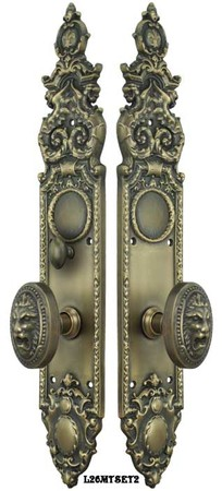 Victorian-Heraldic-Door-Plate-and-Pavia-Roaring-Lion-Knob-Set-with-Turnlatch-Mortise-(L26MTSET2)