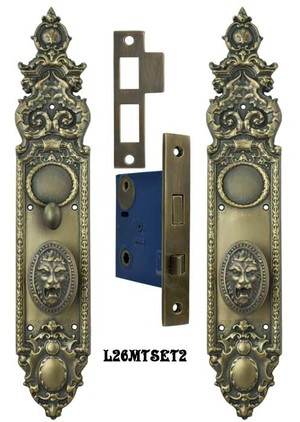 Victorian Heraldic Door Plate with Pavia Roaring Lion Knob Set with Turnlatch Mortise (L26MTSET2)