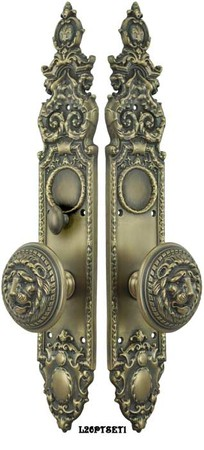 Victorian-Heraldic-Door-Plate-with-Large-Lion-Knob-Set-and-Locking-Turnlatch-(L26PTSET1)