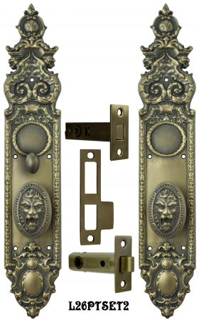 Victorian Heraldic Door Plate with  Pavia Lion Knob Set and Locking Turnlatch (L26PTSET2)