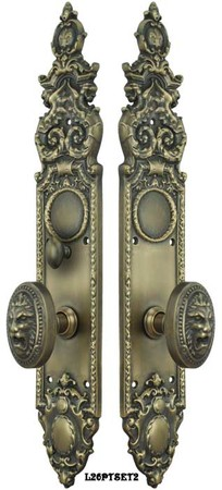 Victorian-Heraldic-Door-Plate-with-Pavia-Lion-Knob-Set-and-Locking-Turnlatch-(L26PTSET2)